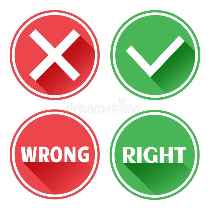 Ajustado bot?es vermelhos e verdes dos ?cones Rejeção e confirmação Erro e direito Vetor ilustração stock