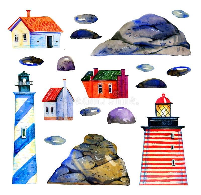 Ajustado com faróis dos desenhos animados, as rochas de pedra e as casas pequenas Mão estilizado ilustração tirada da aquarela ilustração royalty free