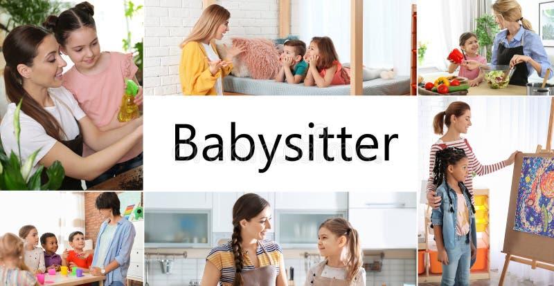 Ajustado com imagens das crian?as e dos baby-sitter fotos de stock royalty free