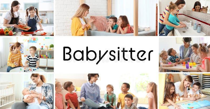 Ajustado com imagens de crian?as e de baby-sitter ador?veis fotos de stock