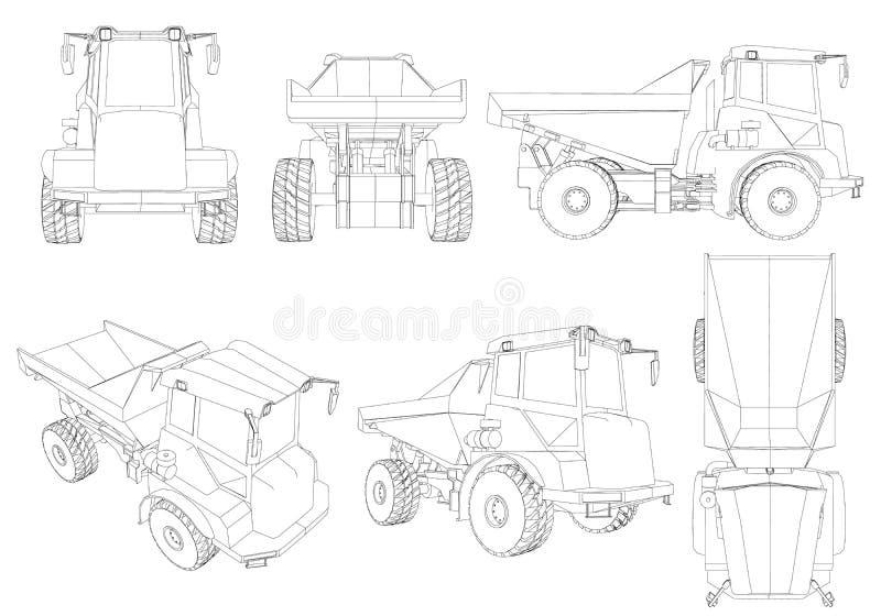 Ajustado com os contornos do caminhão das linhas pretas isoladas em um fundo branco 3d Vista isométrica, lado, parte dianteira, p ilustração stock