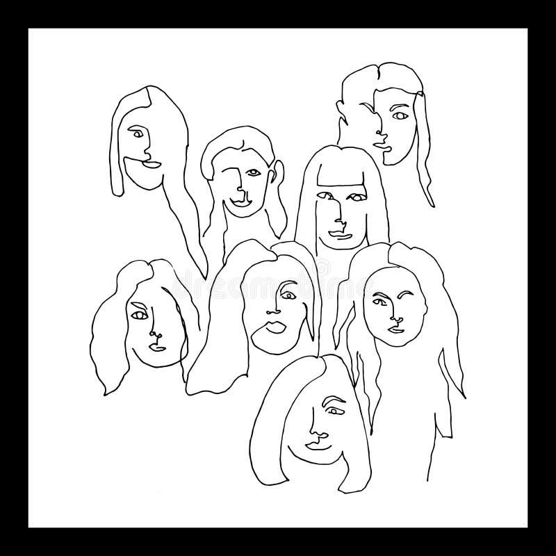Ajustado com os seis retratos fêmeas Ajustado com os seis retratos fêmeas ilustração do vetor