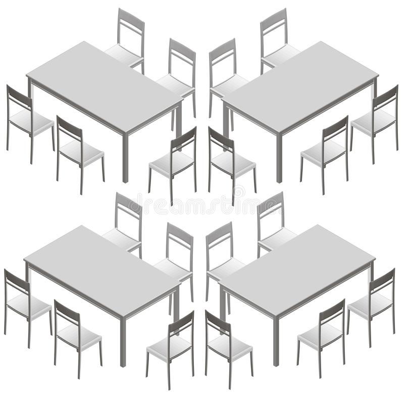 Ajustado com tabelas e cadeiras Vista isom?trica Ilustra??o do vetor ilustração stock