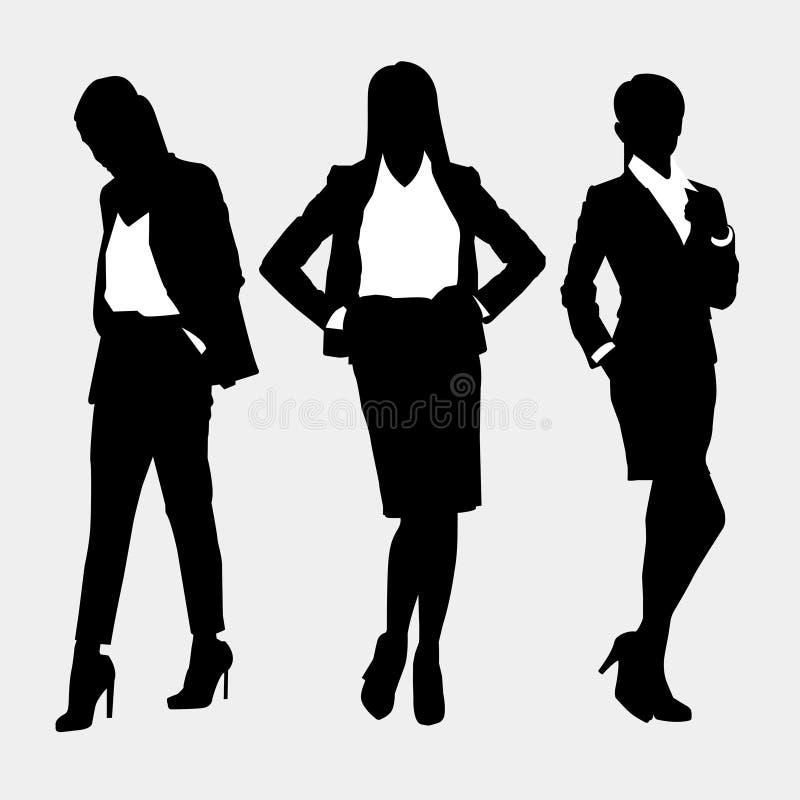 Ajustado com três mulheres em um fundo cinzento ilustração stock