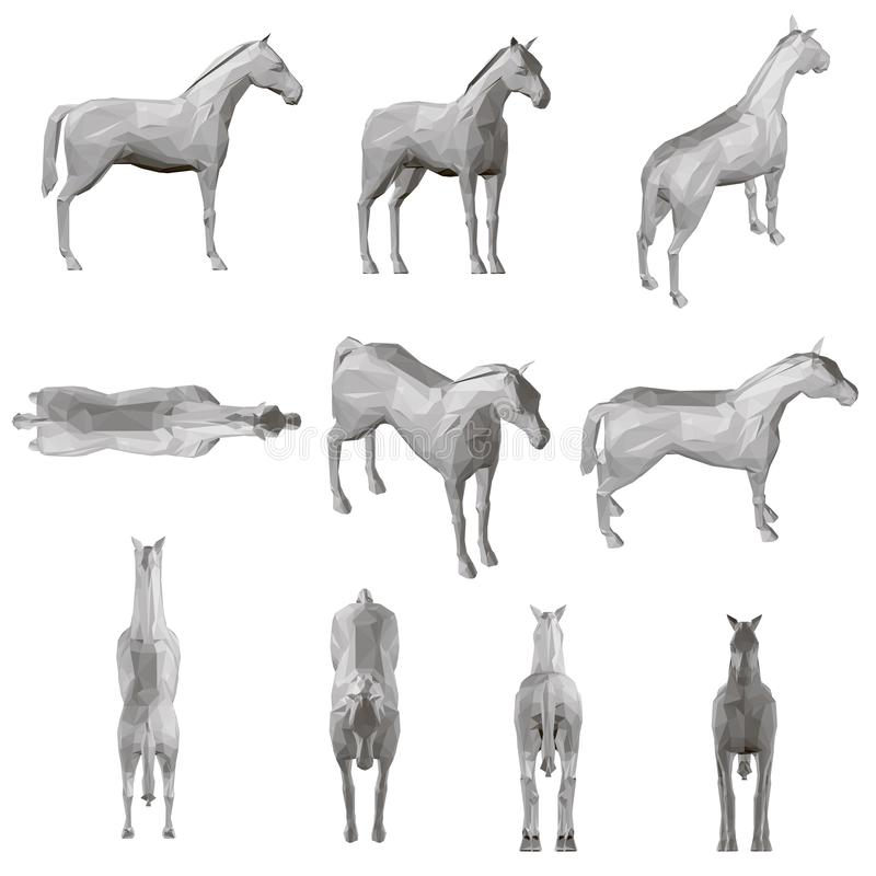Ajustado com um cavalo poligonal em posições diferentes 3d Ilustra??o do vetor ilustração do vetor