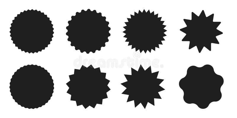Ajustado da estrela dada forma em volta das etiquetas, das etiquetas e das etiquetas da venda ilustração royalty free
