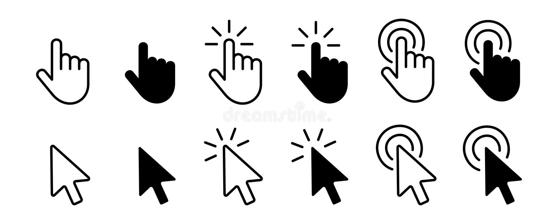 Ajustado de ícones do cursor da mão clique e os ícones do cursor clicam fotos de stock royalty free