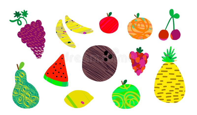 Ajustado de bananas alaranjadas da framboesa da cereja do abacaxi do pêssego da pera da maçã do cocnut da uva dos frutos do verão ilustração stock