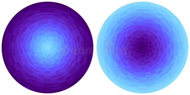 Ajustado de 2 c?rculos radiais roxos e cianos abstratos brilhantes do inclina??o isolados no fundo branco Textura com blocos circ ilustração stock