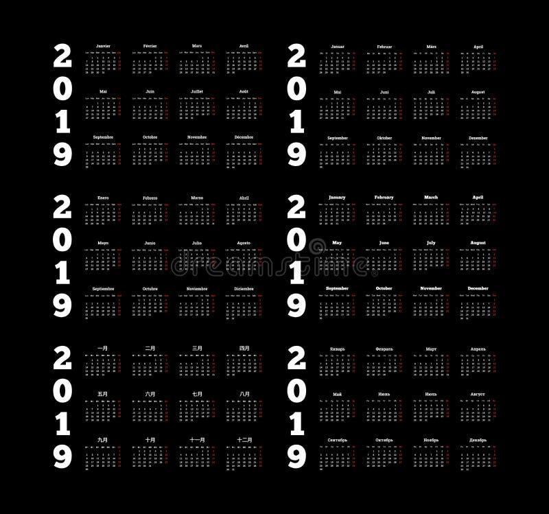 Ajustado de calendários simples de 2019 anos em línguas diferentes inglês, em alemão, em russo, em francês, em espanhol e em chin ilustração royalty free