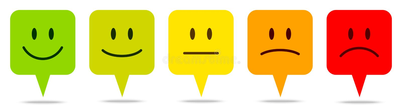 Ajustado de cinco bolhas coloridas do discurso enfrenta o feedback ilustração do vetor