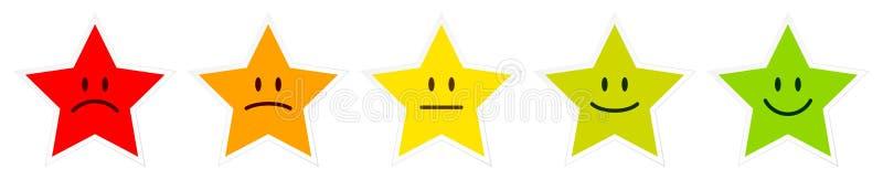 Ajustado de cinco estrelas coloridas enfrente mostrar o humor ilustração do vetor