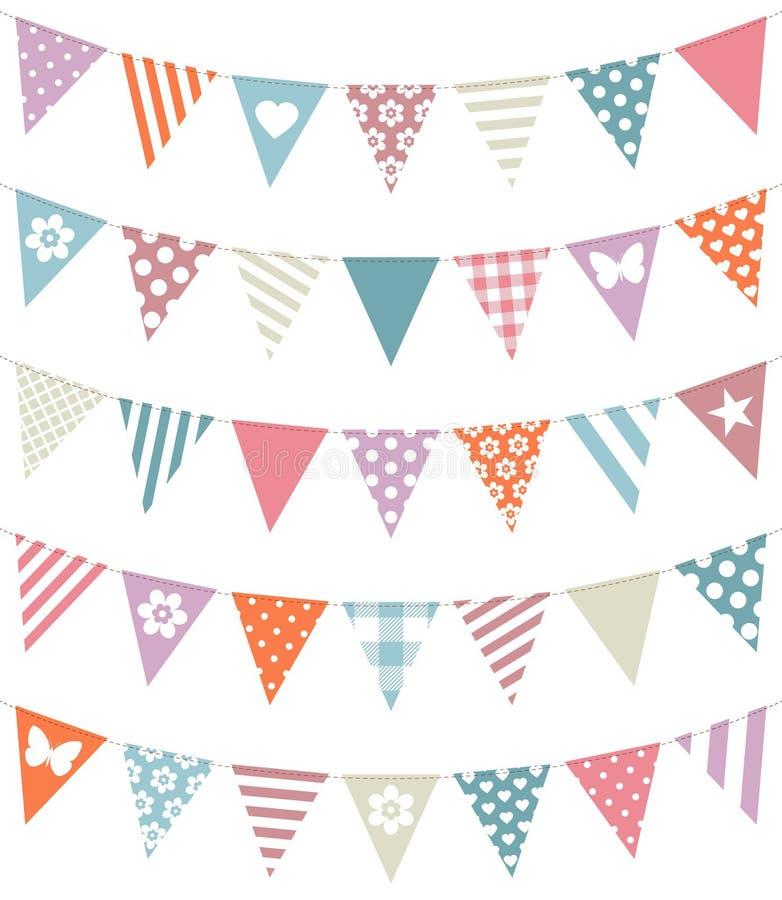 Ajustado de cinco festões sem emenda com cores retros do teste padrão diferente ilustração royalty free