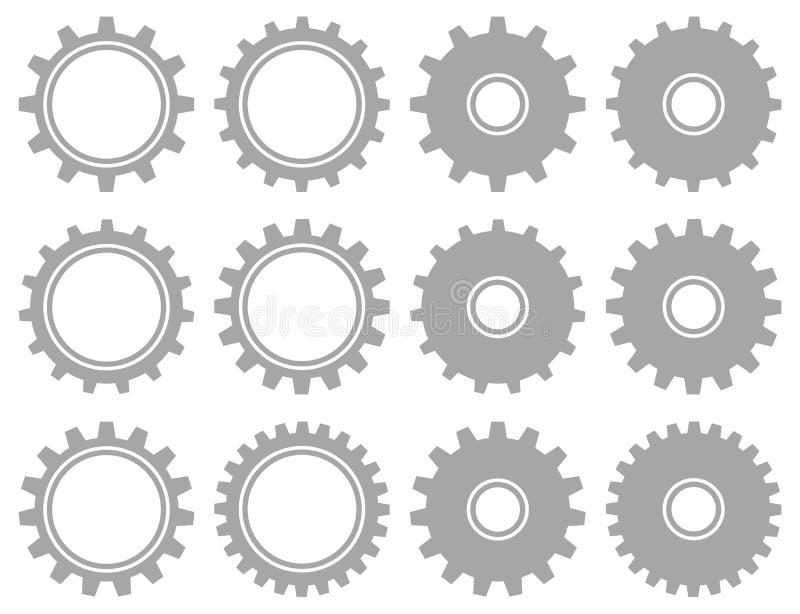 Ajustado de doze Gray Graphic Gears Different Shapes ilustração stock