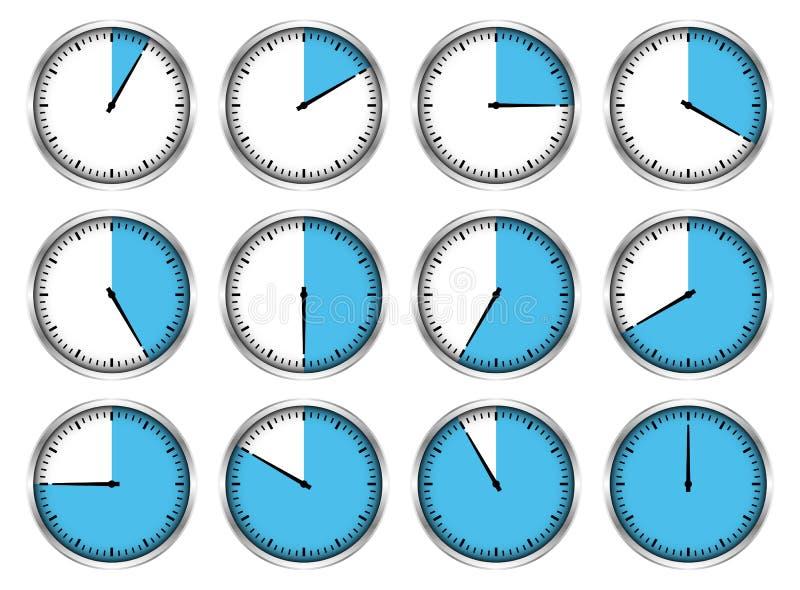 Ajustado de doze vezes diferentes azuis dos cronômetros de prata gráficos ilustração stock