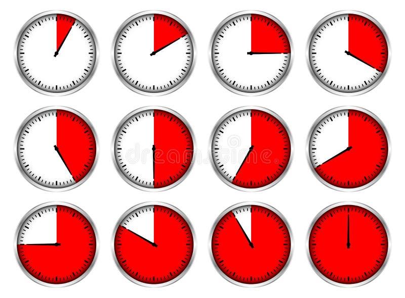 Ajustado de doze vezes diferentes vermelhas dos cronômetros de prata gráficos ilustração do vetor