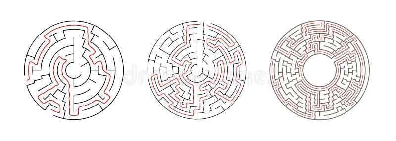 Ajustado de labirintos do vetor Ilustrações do labirinto do círculo ilustração do vetor