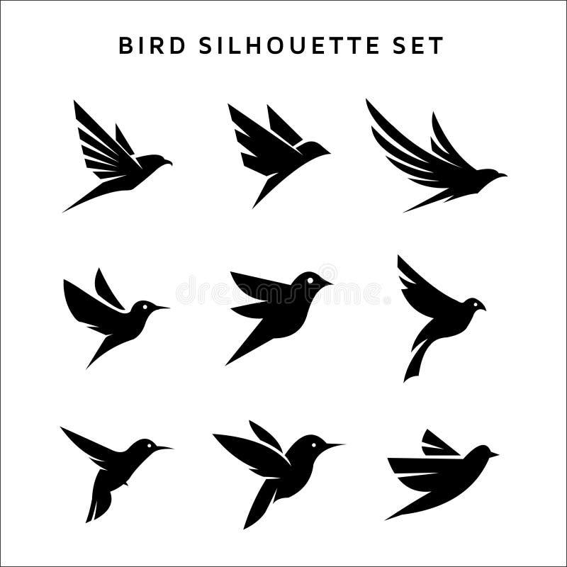 Ajustado de pássaros de voo assine as silhuetas do vetor do logotipo isoladas no branco ilustração stock