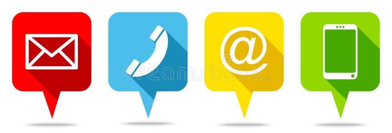 Ajustado de quatro bolhas coloridas do discurso contacte ilustração stock