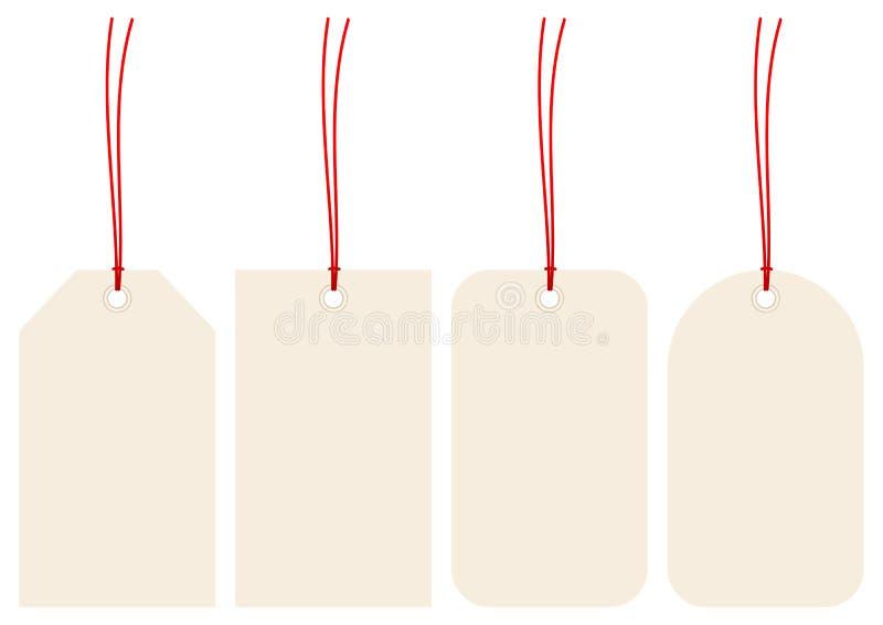 Ajustado de quatro Hangtags bege com cordas vermelhas ilustração do vetor