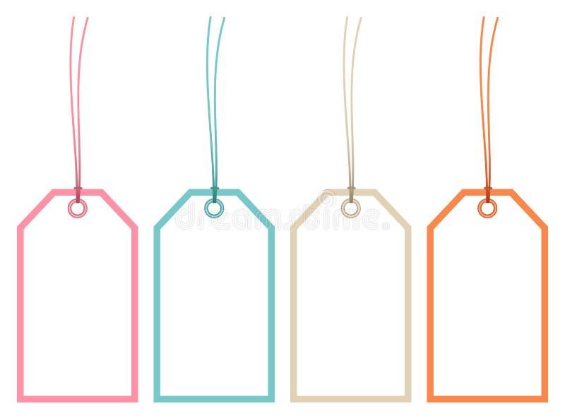 Ajustado de quatro Hangtags molde cordas colorimétricas retros ilustração royalty free