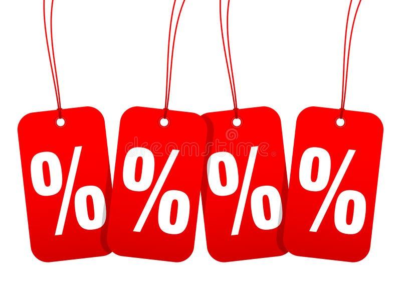 Ajustado de quatro sinais de por cento arredondados vermelhos da venda dos Hangtags ilustração do vetor