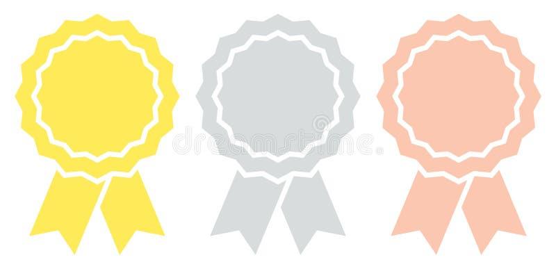 Ajustado de três crachás gráficos da concessão com bronze da prata do ouro da fita ilustração royalty free