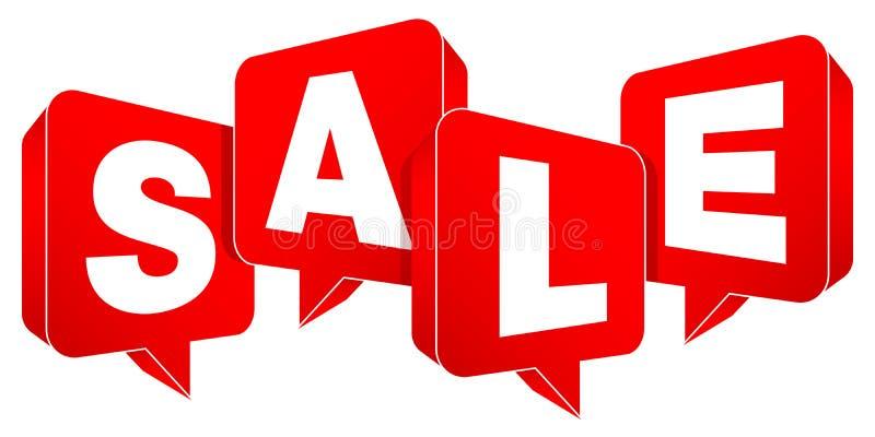 Ajustado de uma venda vermelha de quatro bolhas do discurso ilustração stock