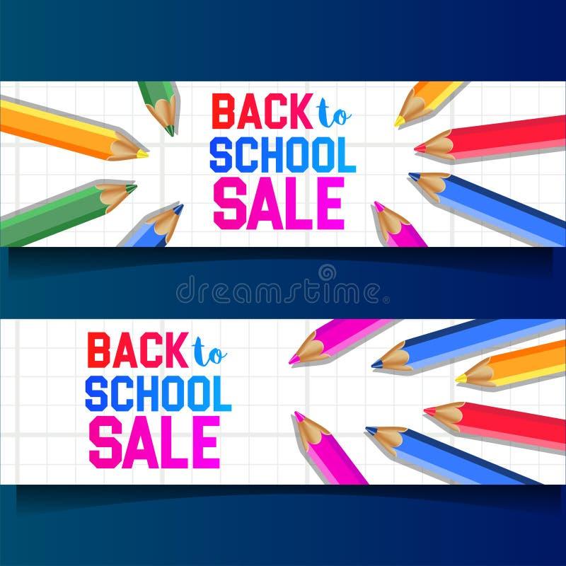 Ajustado de volta à venda da escola fora da bandeira com cor estacionária do lápis do grupo ilustração royalty free