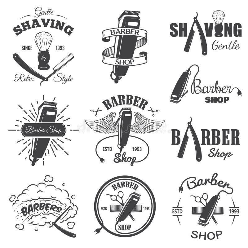 Ajustado em segundo de emblemas da barbearia do vintage fotos de stock