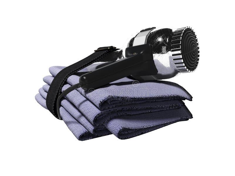Ajustado no hotel para as toalhas de secador 3d do cabelo da secagem não renda no fundo branco nenhuma sombra ilustração royalty free