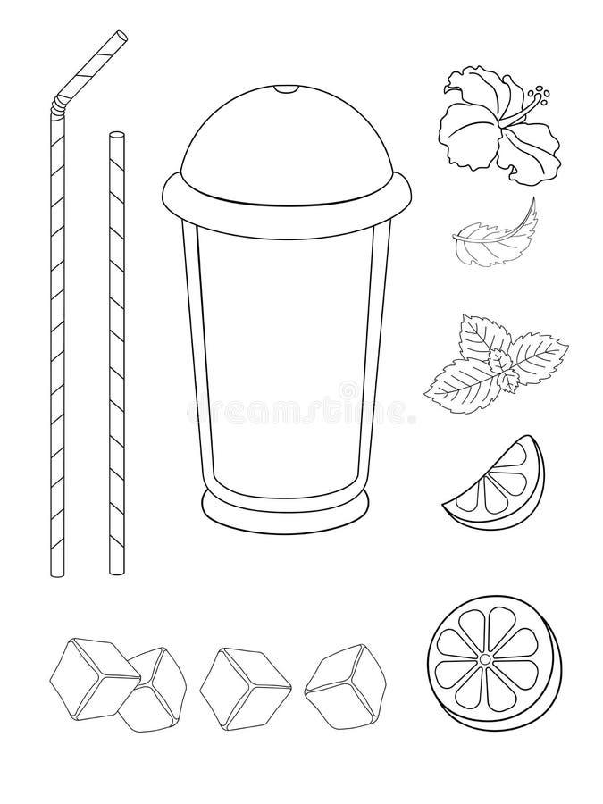 Ajustado para criar e decorar uma bebida - limonada, chá ou mojito Um vidro com uma licença da tampa, de palhas bebendo, de cal,  ilustração stock