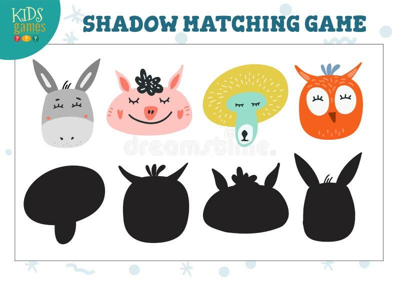 Ajustado para o achado o jogo pré-escolar educacional das crianças da sombra correta ilustração stock