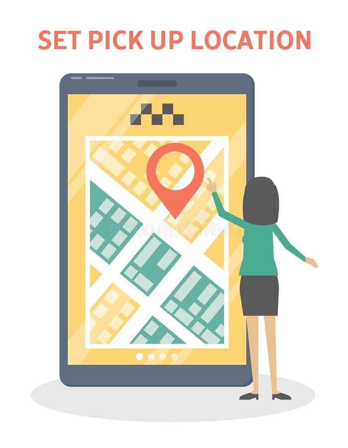 Ajustado pegare o lugar no app ilustração stock