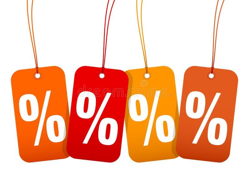 Ajustado quatro por cento Autumn Brown Und Orange da venda dos Hangtags ilustração do vetor
