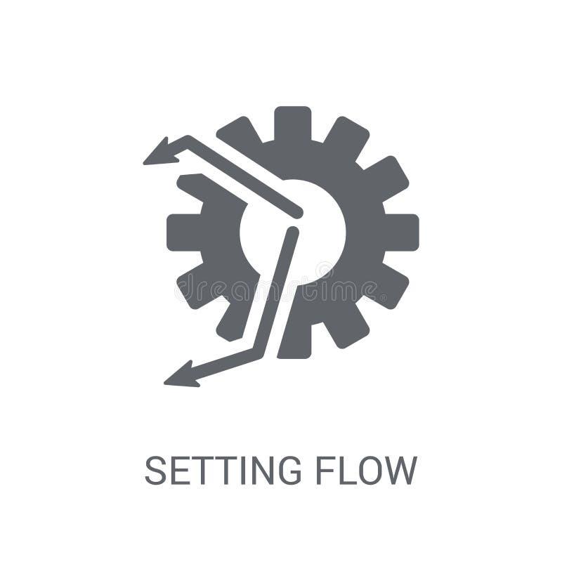 Ajustando o ícone do símbolo da relação do fluxo Interfac de ajuste na moda do fluxo ilustração stock