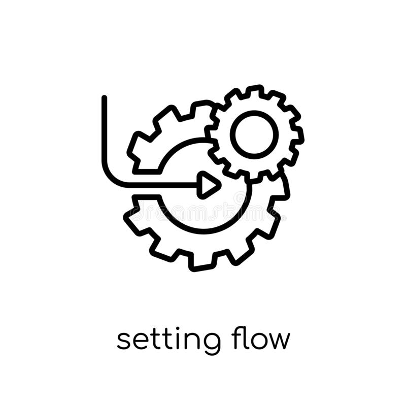 Ajustando o ícone do símbolo da relação do fluxo Plano moderno na moda VE linear ilustração royalty free