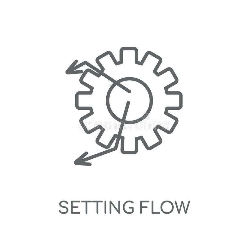 Ajustando o ícone linear do símbolo da relação do fluxo Esboço moderno Settin ilustração royalty free