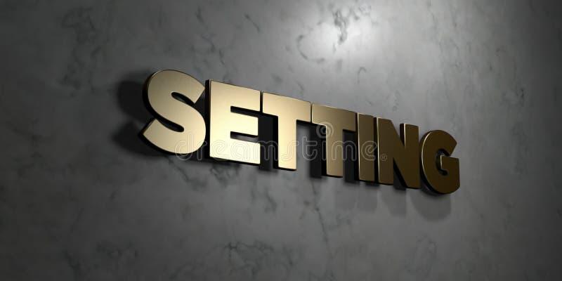 Ajustar - sinal do ouro montado na parede de mármore lustrosa - 3D rendeu a ilustração conservada em estoque livre dos direitos ilustração stock