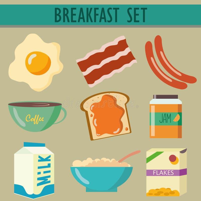 Ajuste ícones com café da manhã ilustração do vetor