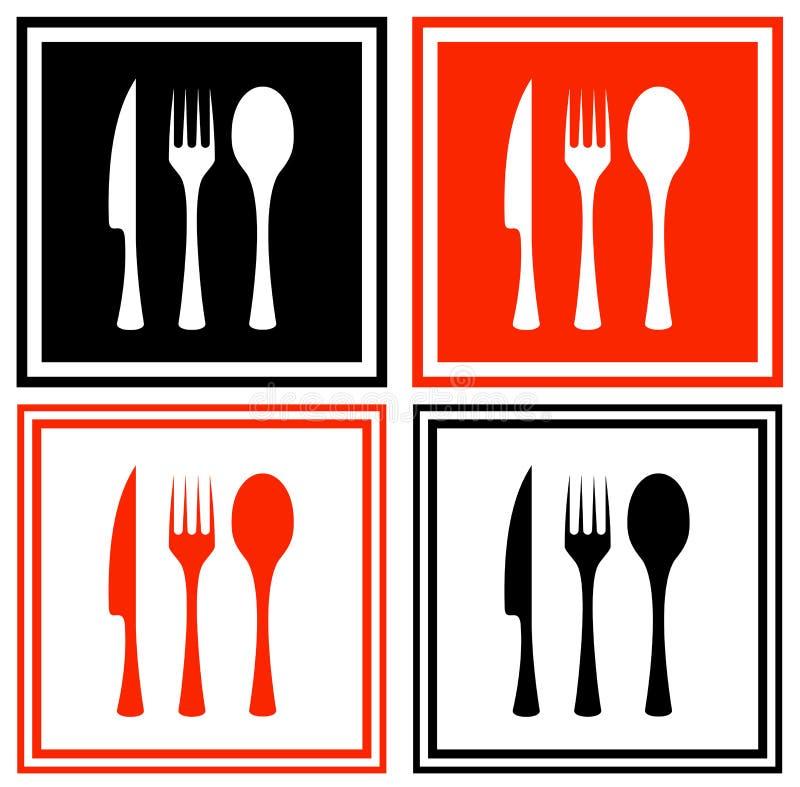 Ajuste ícones com mercadorias da cozinha ilustração do vetor