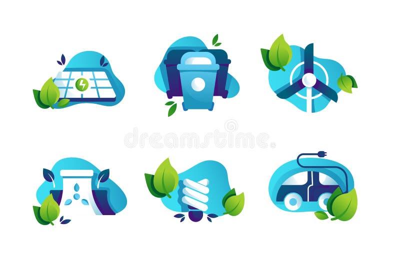 Ajuste ?cones com planeta seguro, pain?is solares, l?mpada de poupan?a de energia, carro el?trico, balde do lixo ilustração royalty free
