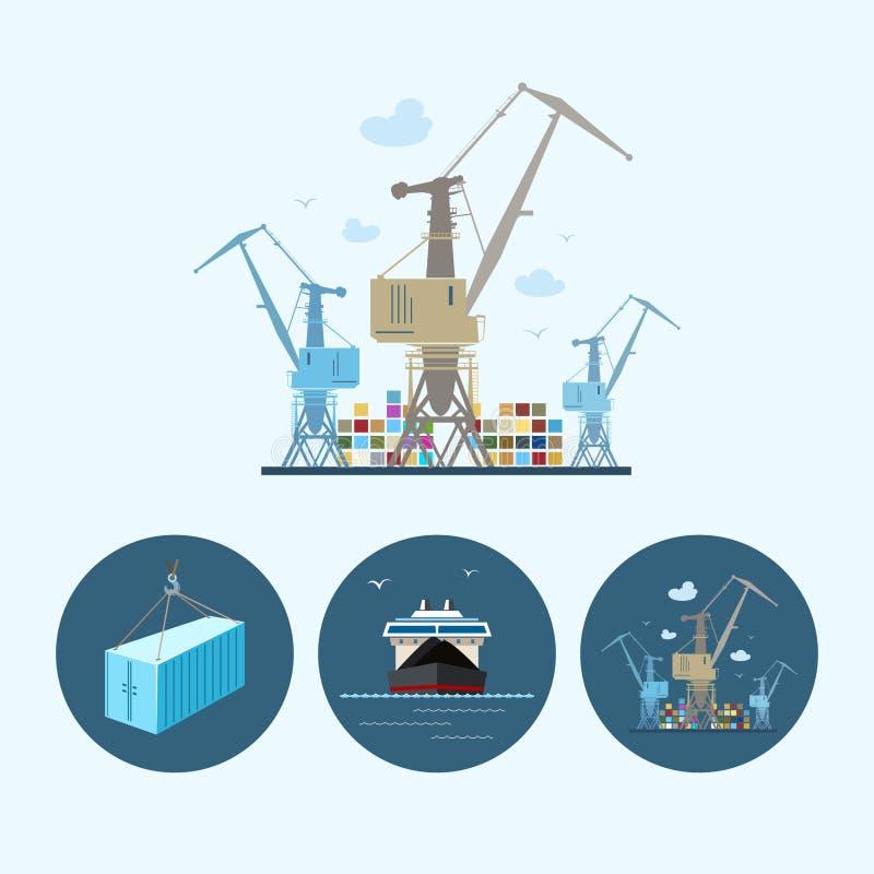 Ajuste ícones com recipiente, navio de carga seca, o guindaste com os recipientes na doca, ilustração do vetor ilustração stock