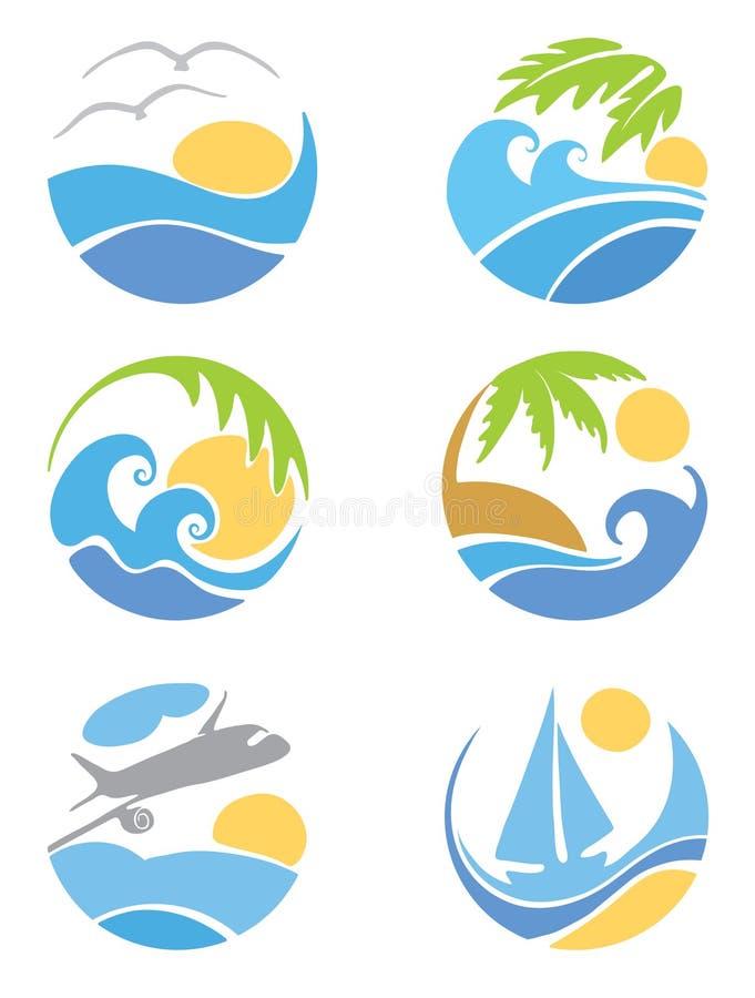 Ajuste ícones -- curso & férias ilustração stock