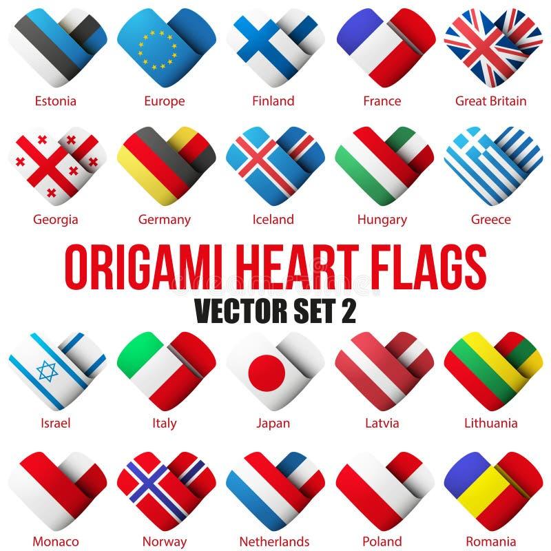 Ajuste ícones da bandeira sob a forma do coração Eu amo-o ilustração do vetor