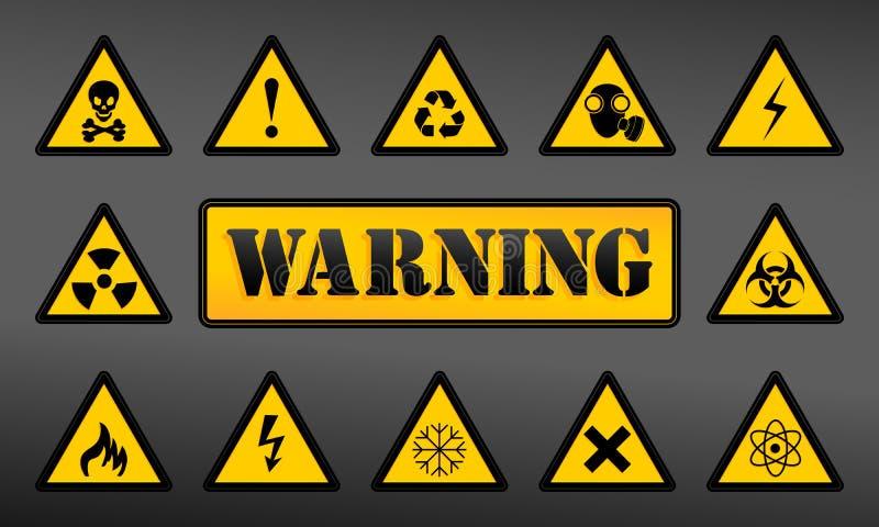 Ajuste ícones de advertência ilustração stock