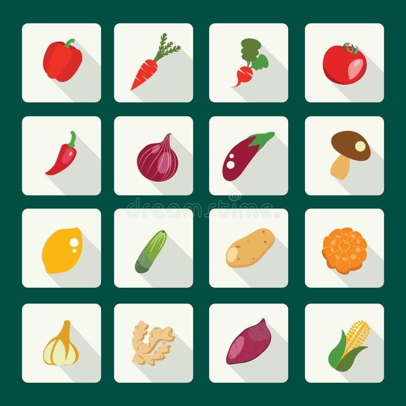 Ajuste ícones do alimento fresco e saudável ilustração do vetor
