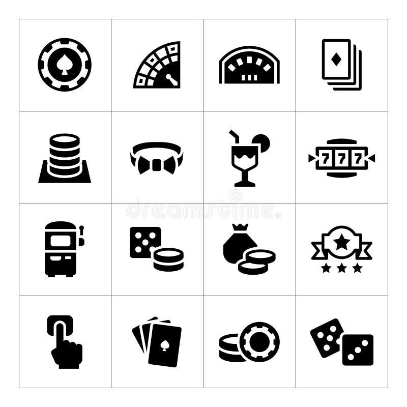 Ajuste ícones do casino ilustração do vetor
