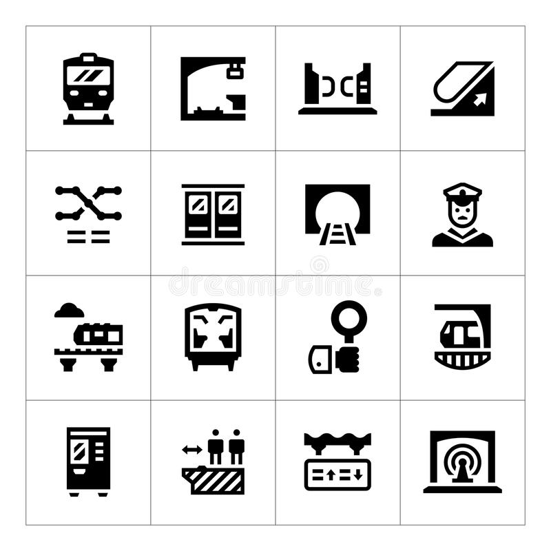 Ajuste ícones do metro ilustração stock