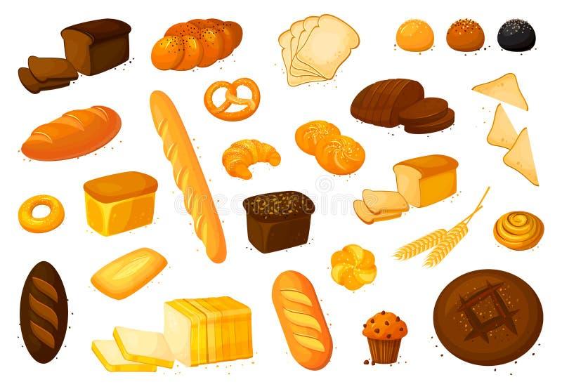 Ajuste ícones do pão do vetor Ilustração do vetor isolada em um fundo branco Produto da padaria no estilo dos desenhos animados ilustração do vetor